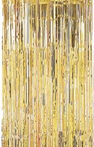 Altın folyo saçaklı perde. 2.4m x 91.4cm. Sürpriz partiler