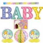 4 şekilli - renkli baskılı karton 25.4cm; 2 asmalı kağıt top 25.4cm; 1 kağıt garlent 3.65m; 2 kağıt orta süsü 25.4cm; 1 Baby Shower pankartı 36.8cm