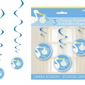 Baby Shower partileri ya da doğum odası süslemesi için ideal dekor. Tavana çift taraflı bant veya yapıştırma hamuru ile sabitleyeceğiniz bu bebek süsleri parti mekanını giydirmak için idealdir. Asıldığında 90cm uzunluğunda olan 3 adet asmalı parti süsü.