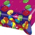 Balonlar parti temalı ürünler ile uyumlu 120 x 180cm plastik kullan-at masa örtüsü.