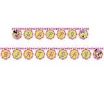 Minnie Mouse temalı doğumgünü parti afişi. Doğum günü dekoru olarak kapıda