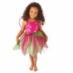 Kostüme yaprak kesim etekli organza elbise ve kanatlar dahildir.