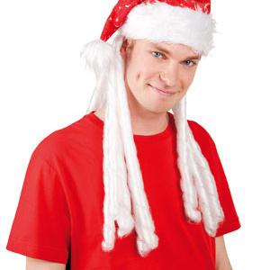 Noel Baba olmanın şartı Noel baba şapkası takmakta! Beyaz ve uzun sentetik saçlı