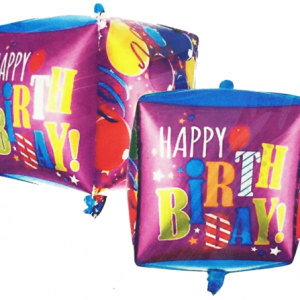 Küp biçimli doğum günü folyo balonu. Dekor ve balon buketi olarak kullanabilirsiniz. Şişirilmeden gönderilir. Helyum gazı ile uçan balon yaptırmak için lütfen mağazalarımızla irtibata geçiniz.