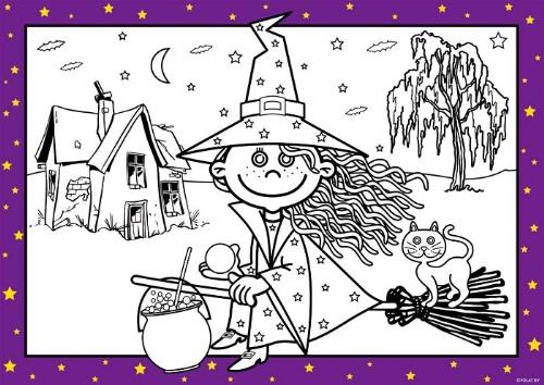Tatlı Cadı Boyama Kağıtları Parti Malzemeleri Parti Süsleri