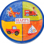 Doğum günü partileri için 23cm baskılı kullan at kağıt parti tabağı. Araçlar temalı doğum günü partilerinizde parti sofralarının vazgeçilmez parti ürünüdür. Diğer araçlar temalı parti malzemeleri ile kombinleyebilirsiniz.