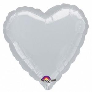 Gümüş Kalp Folyo Balon 45cm
