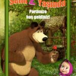 Masha and The Bear temalı doğum günü partilerinizde duvarda veya kapıda kullanabileceğiniz 50x70cm ebatında