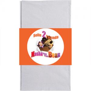 Masha and The Bear partilerinizde kullandığınız kağıt peçetelere sarmak için 20x6cm ebatında kağıt baskı. Düz renkli kullan at kağıt peçetelerle birlikte kullanılır. Masha ve Koca Ayı temalı doğum günü partilerinizde parti sofralarının vazgeçilmez parti ürünüdür. Diğer temalı parti malzemeleri ile kombinleyebilirsiniz.