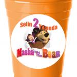 Masha and The Bear partileriniz için 8cm sticker baskı. Okyanus Partisi Bardak Sticker