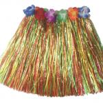 Beli lastikli ve çiçekli rafyadan yapılmış renkli Hawaii eteği. Bel çevresi 60cm (lastiği esnememiş hali)