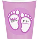Baby Shower  partileriniz için 8cm sticker baskı. Düz renk kullan at kağıt parti bardaklarıyla birlikte kullanabilirsiniz. Fiyata bardak dahil değildir! Bu sticker ları düz renk poşet