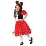 zerinde Minnie Mouse baskısı bulunan puantiyeli kostüm ve Minnie Taç yer almaktadır.(Çorap ve ayakkabılar dahil değildir). Malzeme: Polyester