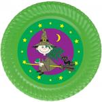 Tatlı Cadı partileriniz için 15cm sticker baskı. Düz renkli kullan at kağıt ve plastik parti tabaklarıyla birlikte kullanabilirsiniz.  Fiyata tabak dahil değildir! Bu sticker ları düz renk poşet