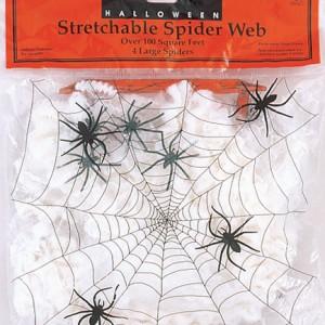 4 adet örümcek ile birlikte 9.29m2ye dekor yapabileceğiniz elyaf ağ. Halloween ve Cadılar Bayramı parti dekorasyonu için ideal parti malzemesi.