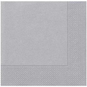 33 cm x 33 cm ebatında gri/gümüş renkte çift katlı kaliteli kağıt peçete. Peçeteler klorsuz ve su bazlıdır. Bir pakette 20 adet mevcuttur.