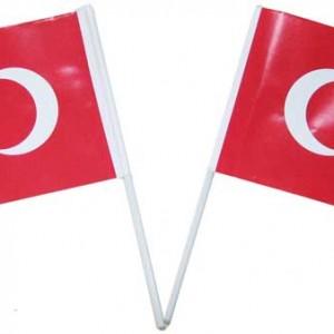 Plastik sopaya takılı kağıt Türk Bayrağı. Bayrak ölçüsü 15x21cm