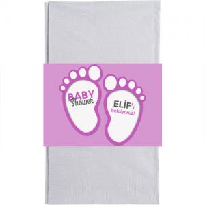 Baby shower partilerinizde kullandığınız kağıt peçetelere sarmak için 20x6cm ebatında kağıt baskı. Düz renkli kullan at kağıt peçetelerle birlikte kullanılır. Bebek temalı doğum günü partilerinizde parti sofralarının vazgeçilmez parti ürünüdür. Diğer temalı parti malzemeleri ile kombinleyebilirsiniz.