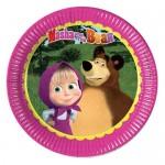 23cm kullan at Masha and The Bear temalı kağıt parti tabağı. Doğum günü partilerinizde ve diğer tüm temalı partilerde