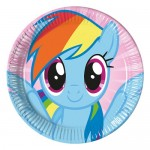 23cm kullan at My Little Pony Rainbow temalı kağıt parti tabağı. Doğum günü partilerinizde ve diğer tüm temalı partilerde