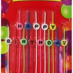 nce çubuklar üzerindeki HAPPY BIRTHDAY harflerinden oluşan şekilli parti mumu. Doğum günleriniz