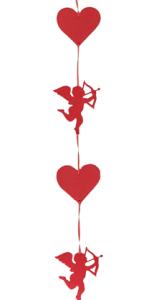 Saten kırmızı ince kurdele üzerinde keçeden şekilli eros ve kalp süsler. Sevgililer güün dekoru