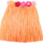 Beli lastikli ve çiçekli rafyadan yapılmış renkli Hawaii eteği. Bel çevresi 40cm (lastiği esnememiş hali)