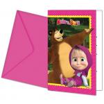 Masha and the Bear parti temanıza uygun kağıt davetiye. Zarfı ile birlikte gelir.