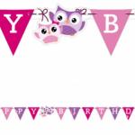 Uğurlu Baykuş serisinden 160 cm x 13 cm ebatlarında Happy Birthday Harf Afiş. Doğum günü
