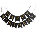 Siyah karton üzerine altın baskılı doğum günü afişi. Asılarak kullanılır.