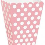 Pembe üzeri beyaz puantiyeli orta boy pop-corn / patlamış mısır kutusu. Yükseklik: 13 cm En : 9 cm