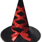 Kumaş ve saten kurdele detaylı cadılar bayramı şapkası.