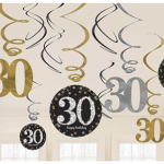 Dalga dalga inen süsler ve 30 şekilli ve yuvarlak karton üzerine özel baskı süsler. 30 yaş doğum günü partileri için harika bir dekordur.