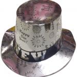 Parlak karton üzerine baskılı standart silindir şapka. Yılbaşı şapkanızı yılbaşı maskesi