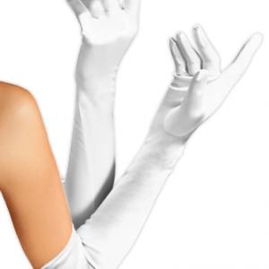 Beyaz saten eldiven; yetişkin boydur. Takma kirpik ve kuştüyü ötrişle tamamlayarak vintage parti