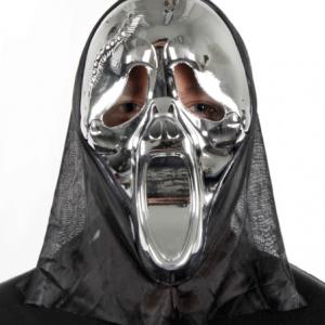 Üzeri parlak gümüş boya kaplı plastik kabartma çığlık maske. Yetişkin boydur.