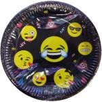 Emoji partisi konseptli 23cm kullan at kağıt tabak