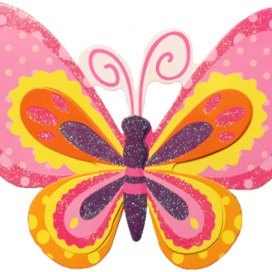 Bir kaç kat kaliteli baskılı kartondan oluşan kelebek parti dekoru