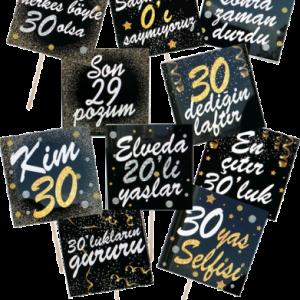 30 yaşa özel konuşma balonu seti. Fotoğraf çektirme çubukları doğum günü partilerinizin vazgeçilmez aksesuarıdır. Misafirlerinize dağıtarak fotoğrafların daha eğlenceli çıkmasına yardımcı olun!