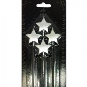 gümüş yıldızlı mumlar