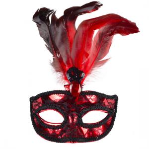kırmızı tüylü taşlı parti maskesi