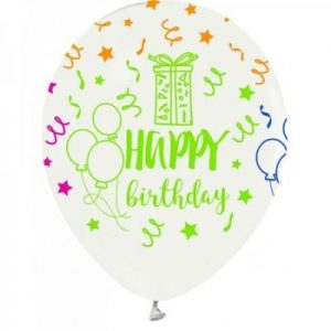 Happy birthday neon baskılı beyaz balon 15li