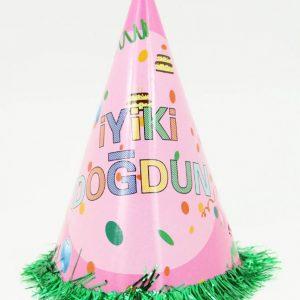 İyi ki doğdun yazılı pembe karton parti şapkası