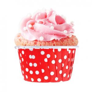 Kırmızı Puantiyeli Kağıt Cupcake Kapsülü 50li