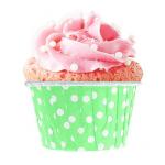 Yer Tutucu Yeşil Puantiyeli Kağıt Cupcake Kapsülü 50li